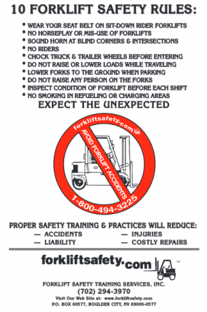 English Forklift Safety Rules Poster