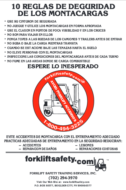 Spanish Forklift Safety Rules Poster